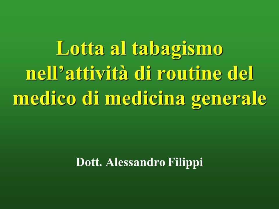 Lotta al tabagismo nellattività di routine del medico di medicina generale Dott. Alessandro Filippi