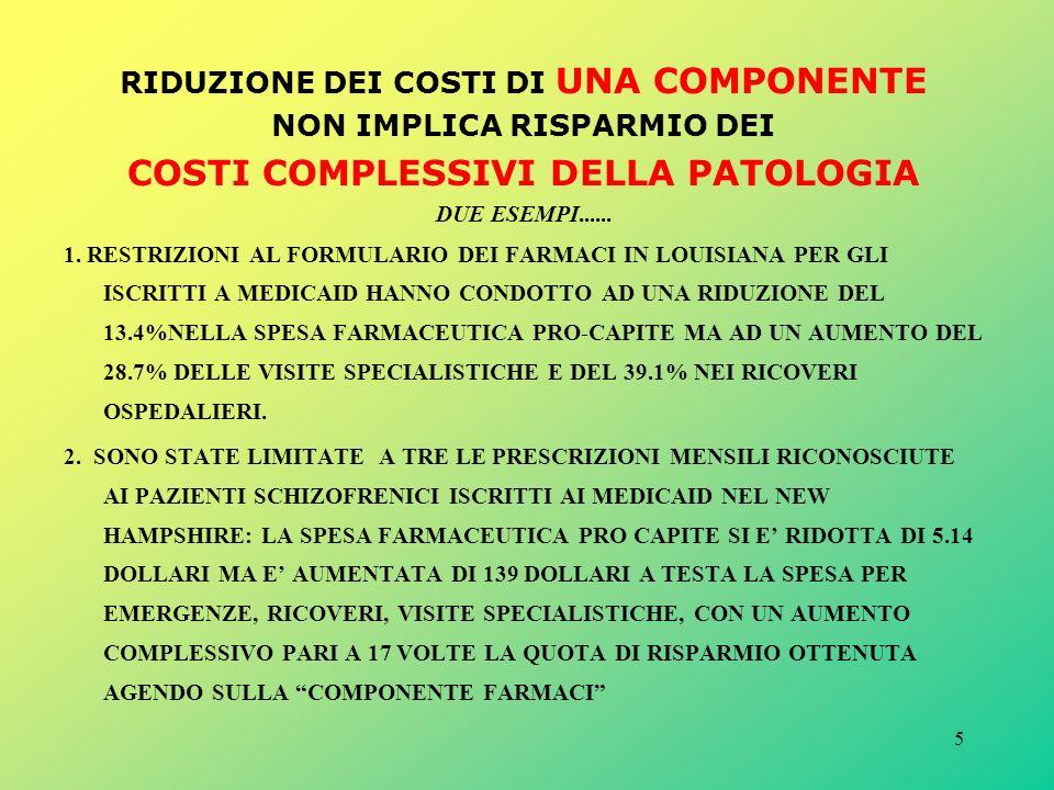 5 RIDUZIONE DEI COSTI DI UNA COMPONENTE NON IMPLICA RISPARMIO DEI COSTI COMPLESSIVI DELLA PATOLOGIA DUE ESEMPI......