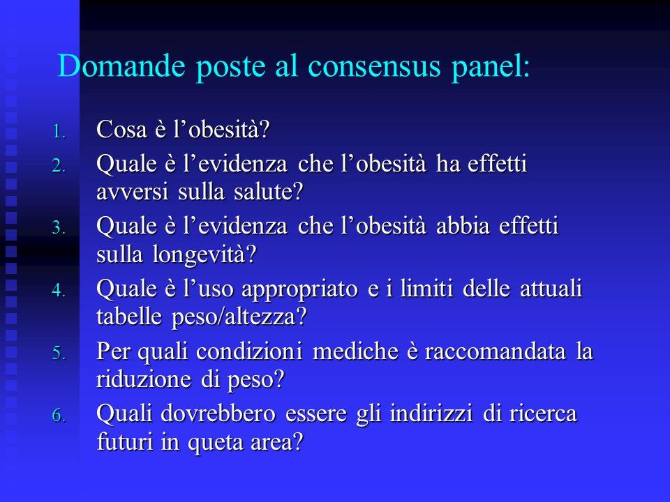Domande poste al consensus panel: 1. Cosa è lobesità? 2. Quale è levidenza che lobesità ha effetti avversi sulla salute? 3. Quale è levidenza che lobe