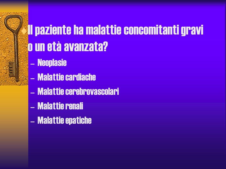 Il paziente ha malattie concomitanti gravi o un età avanzata? –Neoplasie –Malattie cardiache –Malattie cerebrovascolari –Malattie renali –Malattie epa