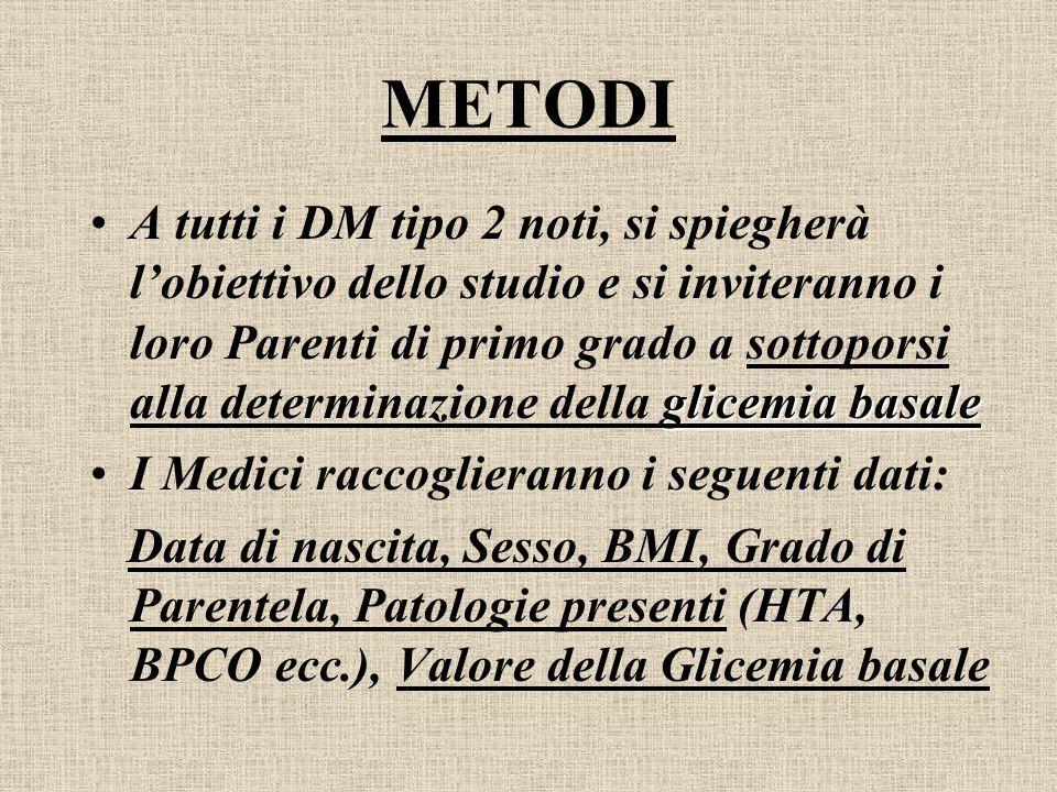 METODI glicemia basaleA tutti i DM tipo 2 noti, si spiegherà lobiettivo dello studio e si inviteranno i loro Parenti di primo grado a sottoporsi alla