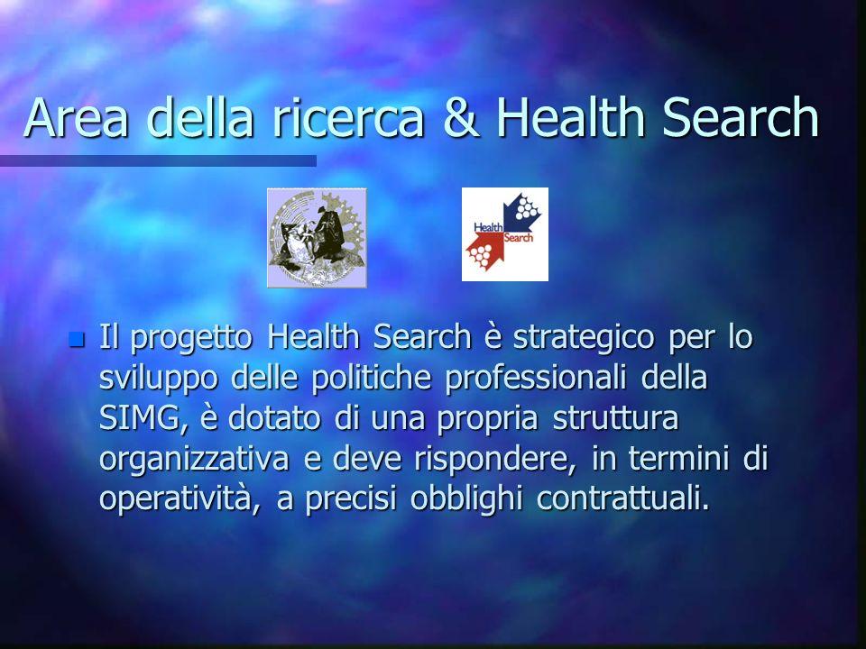 Area della ricerca & Health Search n Il progetto Health Search è strategico per lo sviluppo delle politiche professionali della SIMG, è dotato di una propria struttura organizzativa e deve rispondere, in termini di operatività, a precisi obblighi contrattuali.