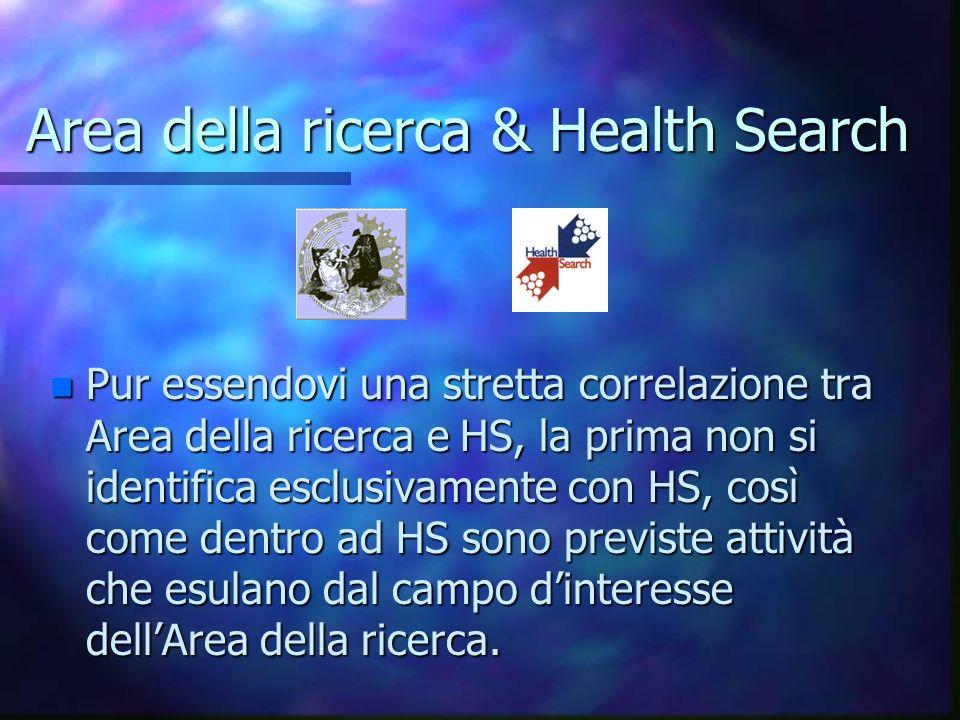 Area della ricerca & Health Search n Pur essendovi una stretta correlazione tra Area della ricerca e HS, la prima non si identifica esclusivamente con HS, così come dentro ad HS sono previste attività che esulano dal campo dinteresse dellArea della ricerca.