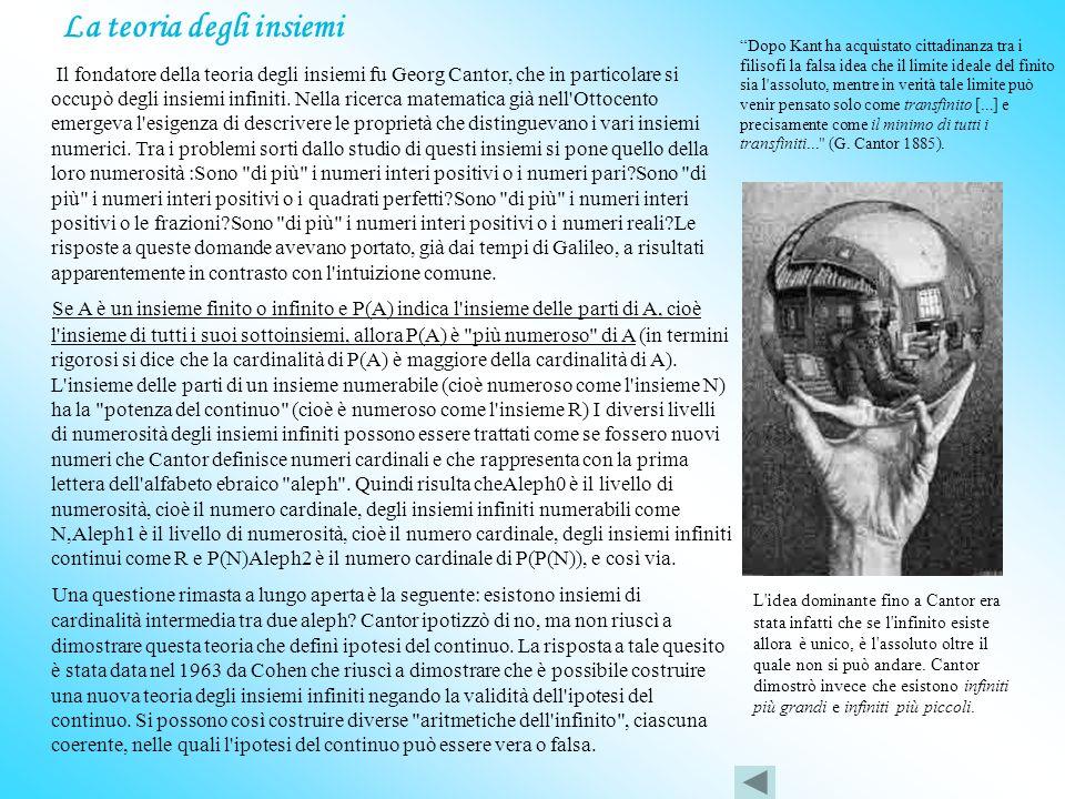 La teoria degli insiemi I l fondatore della teoria degli insiemi fu Georg Cantor, che in particolare si occupò degli insiemi infiniti.