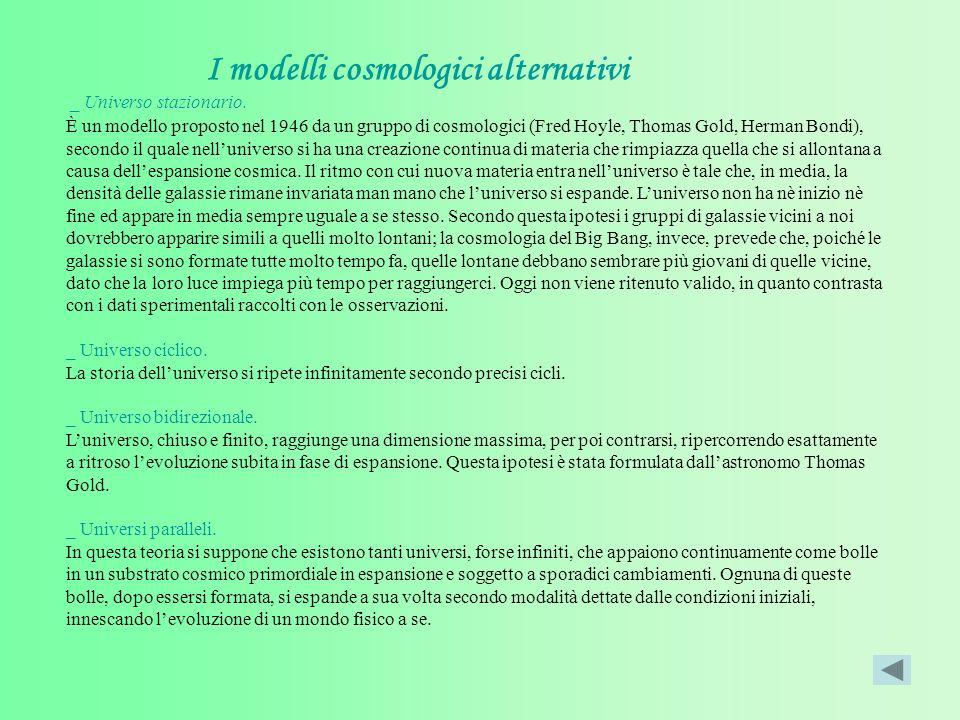 I modelli cosmologici alternativi _ Universo stazionario.