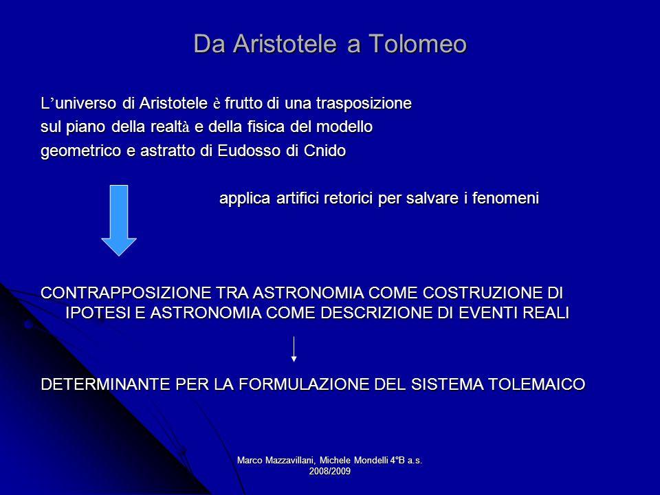 Marco Mazzavillani, Michele Mondelli 4°B a.s. 2008/2009 Da Aristotele a Tolomeo L universo di Aristotele è frutto di una trasposizione sul piano della