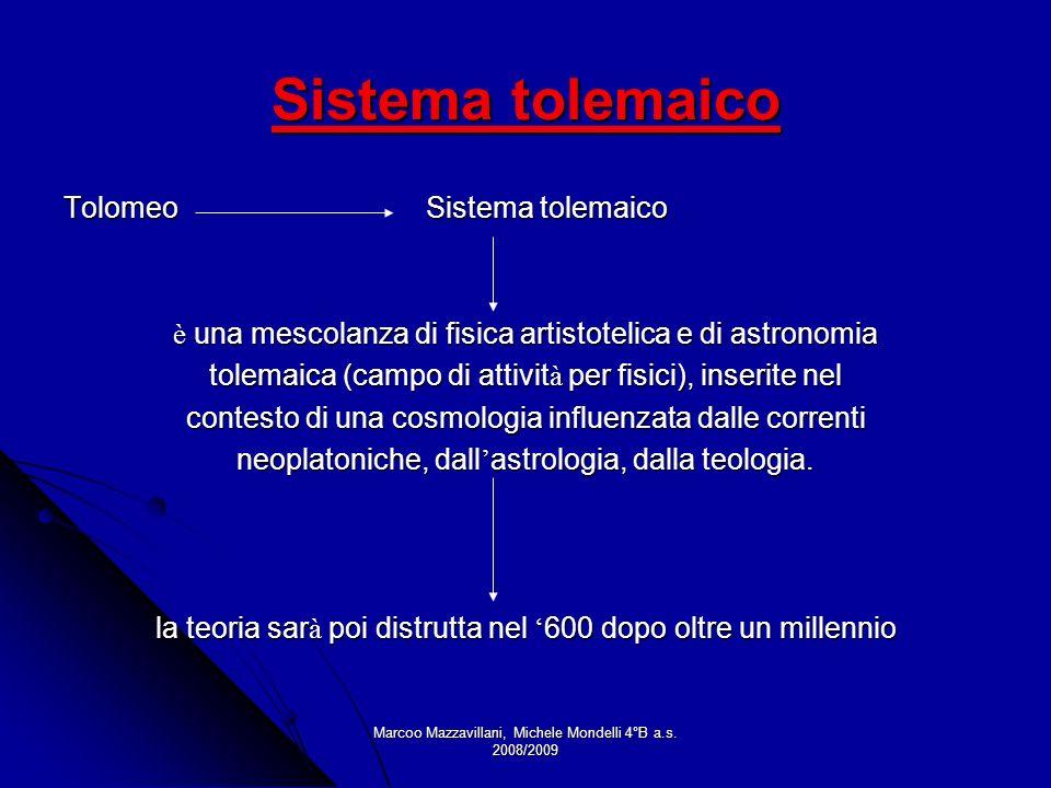 Marcoo Mazzavillani, Michele Mondelli 4°B a.s. 2008/2009 Sistema tolemaico Tolomeo Sistema tolemaico è una mescolanza di fisica artistotelica e di ast