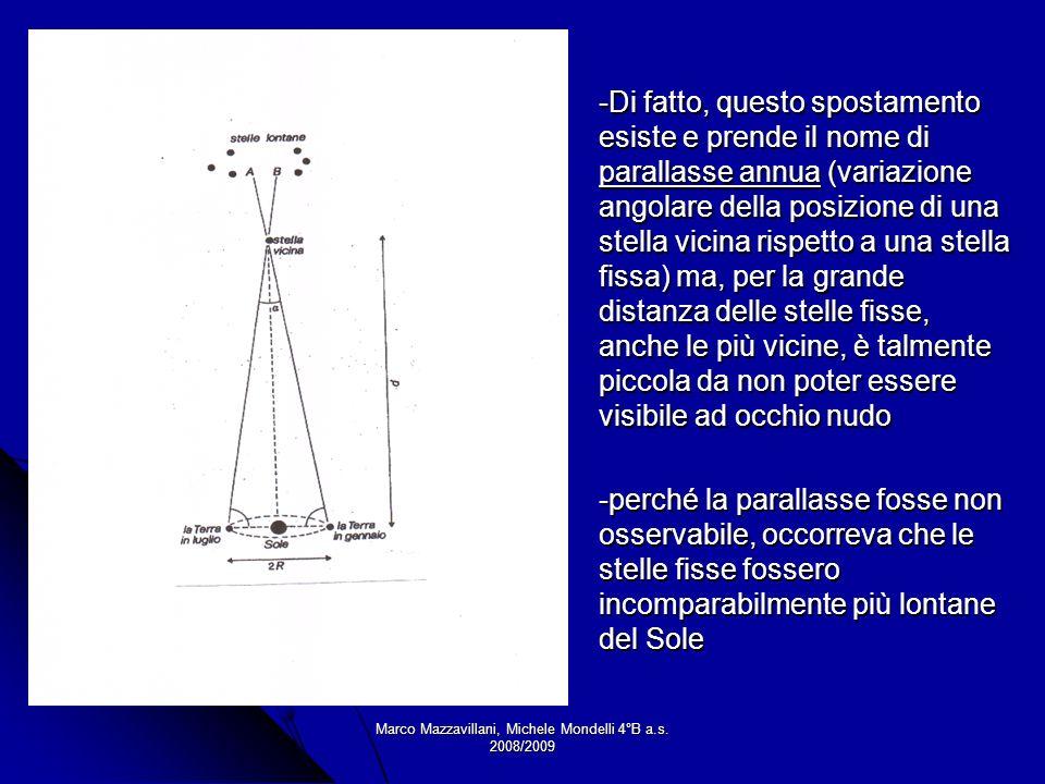 Marco Mazzavillani, Michele Mondelli 4°B a.s. 2008/2009 -Di fatto, questo spostamento esiste e prende il nome di parallasse annua (variazione angolare