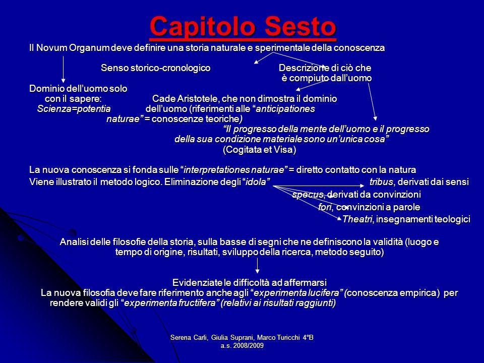 Serena Carli, Giulia Suprani, Marco Turicchi 4°B a.s. 2008/2009 Capitolo Sesto Il Novum Organum deve definire una storia naturale e sperimentale della