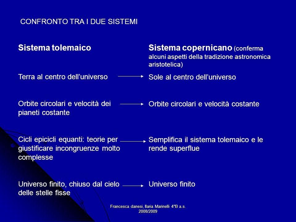 Francesca danesi, Ilaria Marinelli 4°B a.s. 2008/2009 Sistema tolemaico Terra al centro delluniverso Orbite circolari e velocità dei pianeti costante