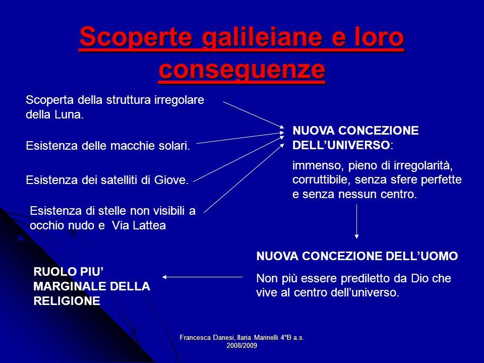 Francesca Danesi, Ilaria Marinelli 4°B a.s. 2008/2009 Scoperte galileiane e loro conseguenze Scoperta della struttura irregolare della Luna. Esistenza