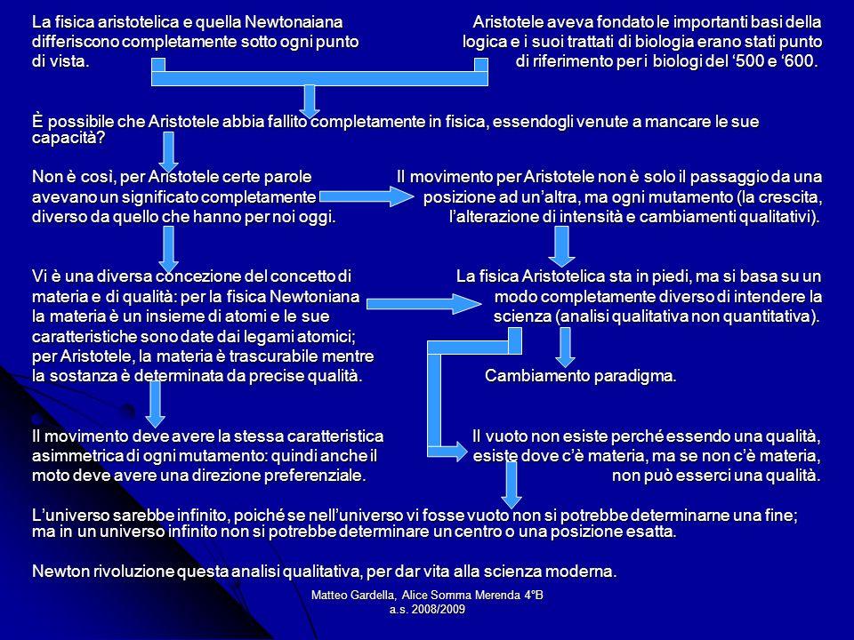 Matteo Gardella, Alice Somma Merenda 4°B a.s. 2008/2009 La fisica aristotelica e quella Newtonaiana Aristotele aveva fondato le importanti basi della