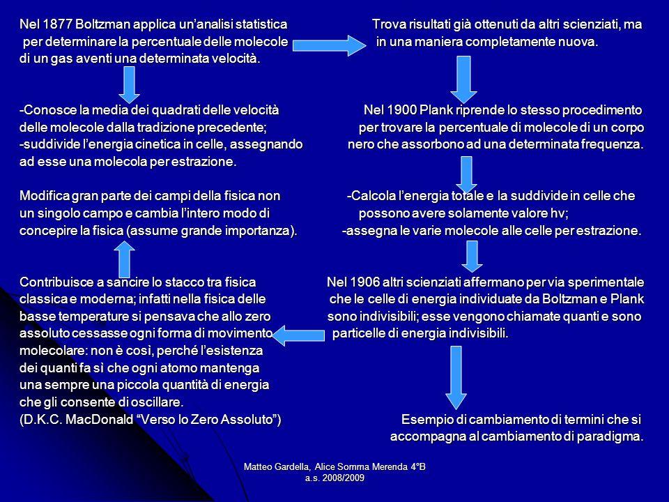 Matteo Gardella, Alice Somma Merenda 4°B a.s. 2008/2009 Nel 1877 Boltzman applica unanalisi statistica Trova risultati già ottenuti da altri scienziat