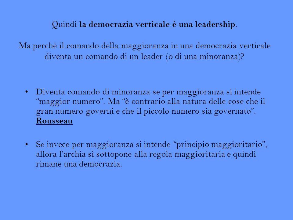 Quindi la democrazia verticale è una leadership. Ma perché il comando della maggioranza in una democrazia verticale diventa un comando di un leader (o