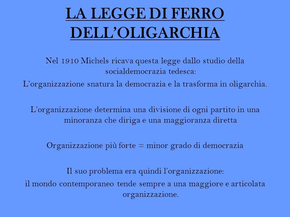 LA LEGGE DI FERRO DELLOLIGARCHIA Nel 1910 Michels ricava questa legge dallo studio della socialdemocrazia tedesca: Lorganizzazione snatura la democraz