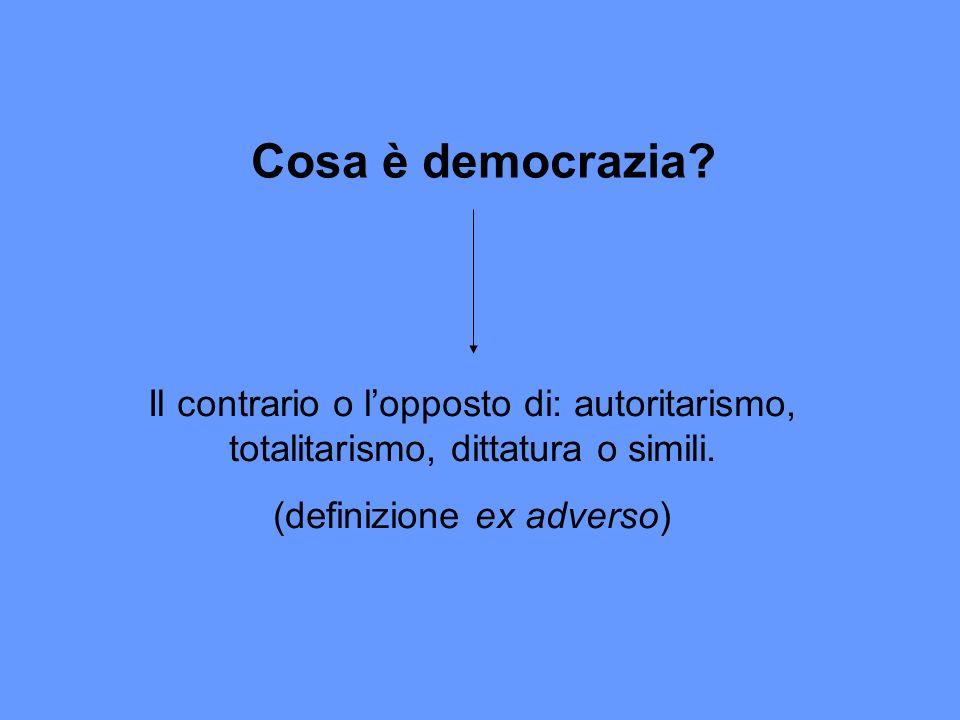 Cosa è democrazia? Il contrario o lopposto di: autoritarismo, totalitarismo, dittatura o simili. (definizione ex adverso)