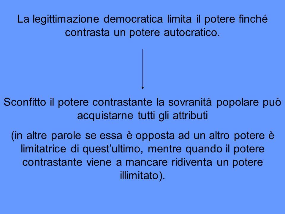 La legittimazione democratica limita il potere finché contrasta un potere autocratico. Sconfitto il potere contrastante la sovranità popolare può acqu