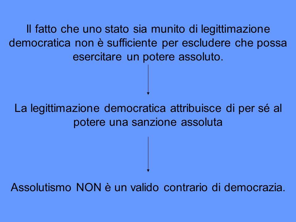 Il fatto che uno stato sia munito di legittimazione democratica non è sufficiente per escludere che possa esercitare un potere assoluto. La legittimaz