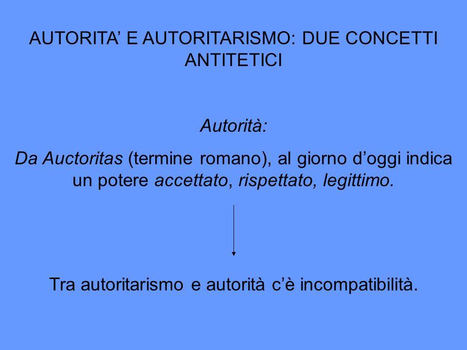 AUTORITA E AUTORITARISMO: DUE CONCETTI ANTITETICI Autorità: Da Auctoritas (termine romano), al giorno doggi indica un potere accettato, rispettato, le