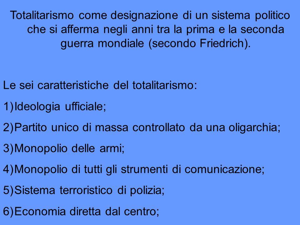 Totalitarismo come designazione di un sistema politico che si afferma negli anni tra la prima e la seconda guerra mondiale (secondo Friedrich). Le sei