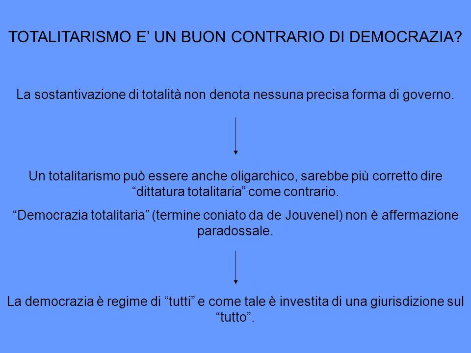 TOTALITARISMO E UN BUON CONTRARIO DI DEMOCRAZIA? La sostantivazione di totalità non denota nessuna precisa forma di governo. Un totalitarismo può esse