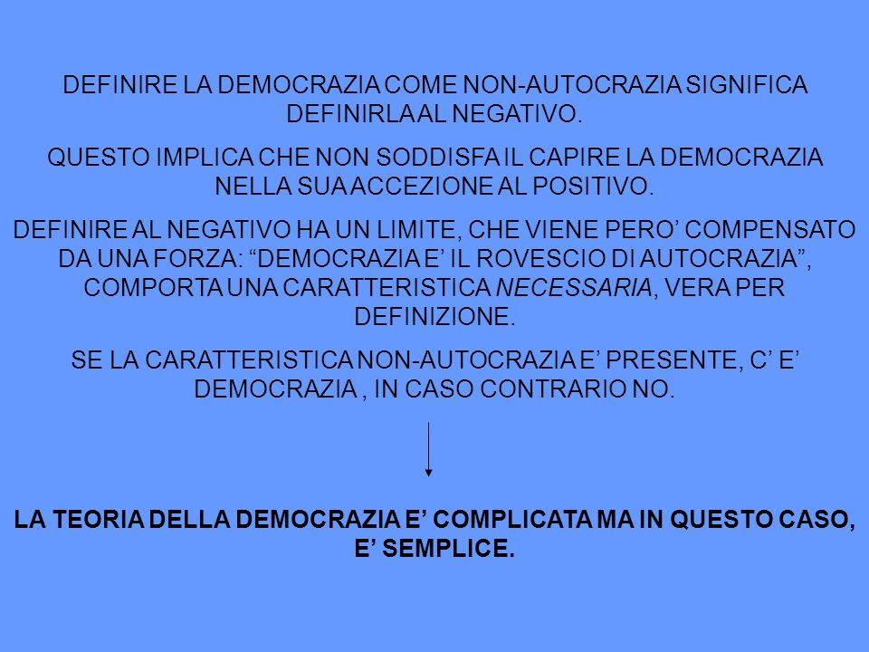 DEFINIRE LA DEMOCRAZIA COME NON-AUTOCRAZIA SIGNIFICA DEFINIRLA AL NEGATIVO. QUESTO IMPLICA CHE NON SODDISFA IL CAPIRE LA DEMOCRAZIA NELLA SUA ACCEZION