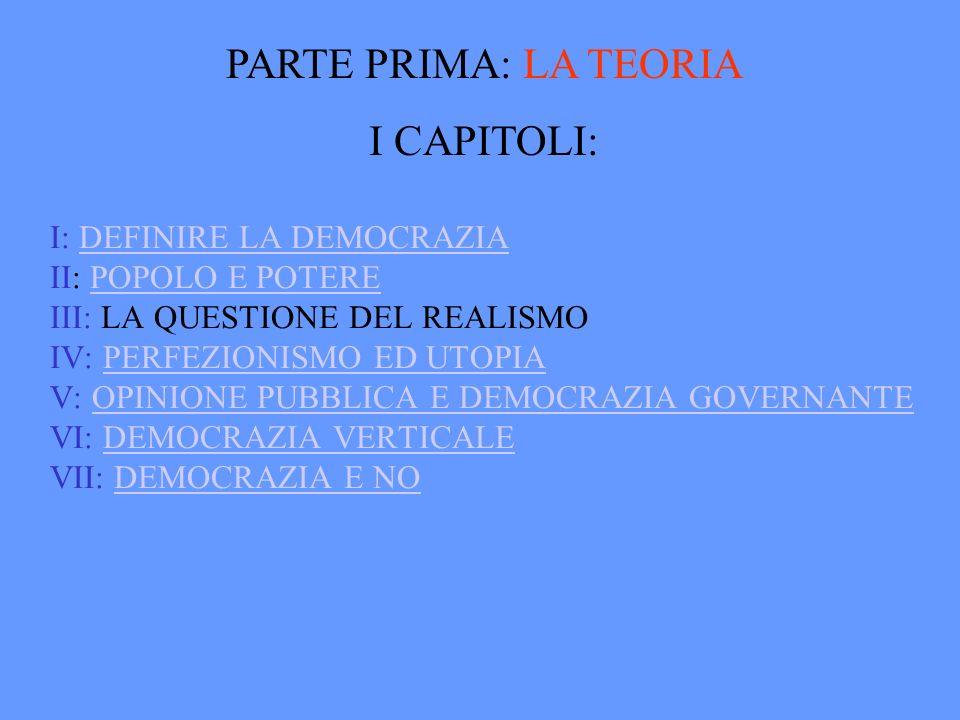 I: DEFINIRE LA DEMOCRAZIA II: POPOLO E POTERE III: LA QUESTIONE DEL REALISMO IV: PERFEZIONISMO ED UTOPIA V: OPINIONE PUBBLICA E DEMOCRAZIA GOVERNANTE