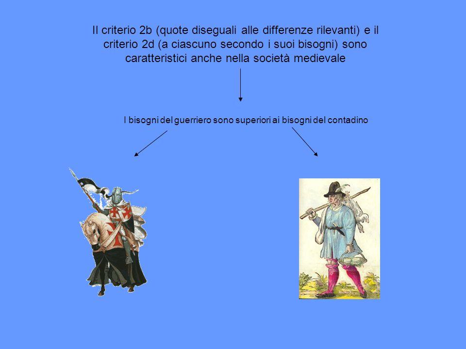 Il criterio 2b (quote diseguali alle differenze rilevanti) e il criterio 2d (a ciascuno secondo i suoi bisogni) sono caratteristici anche nella societ
