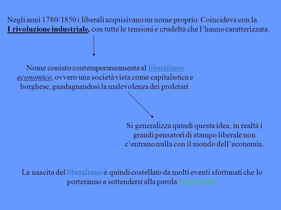 Negli anni 1780/1850 i liberali acquisivano un nome proprio. Coincideva con la I rivoluzione industriale, con tutte le tensioni e crudeltà che lhanno