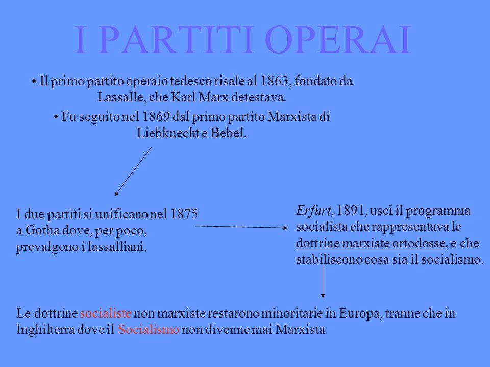 I PARTITI OPERAI Il primo partito operaio tedesco risale al 1863, fondato da Lassalle, che Karl Marx detestava. Fu seguito nel 1869 dal primo partito