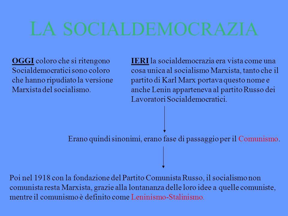 LA SOCIALDEMOCRAZIA OGGI coloro che si ritengono Socialdemocratici sono coloro che hanno ripudiato la versione Marxista del socialismo. IERI la social