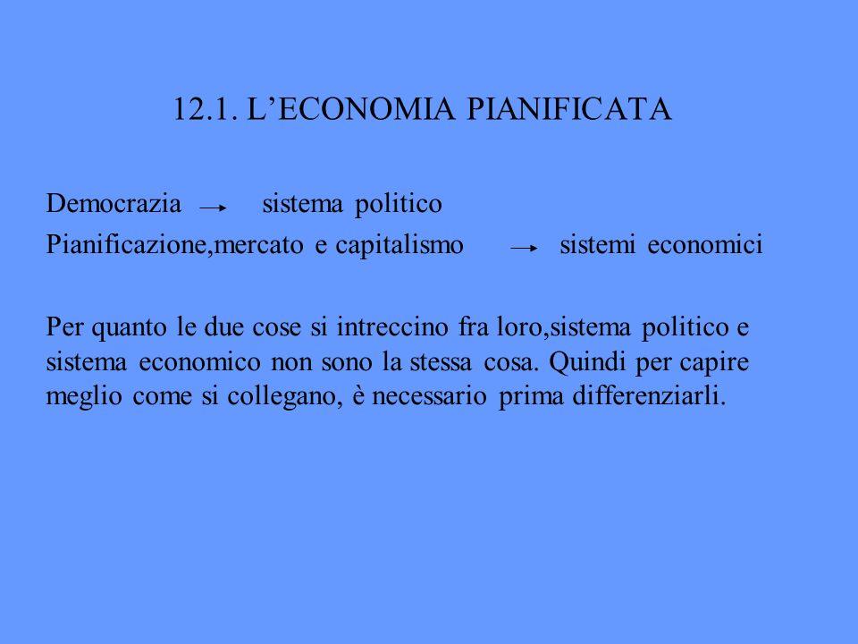12.1. LECONOMIA PIANIFICATA Democrazia sistema politico Pianificazione,mercato e capitalismo sistemi economici Per quanto le due cose si intreccino fr