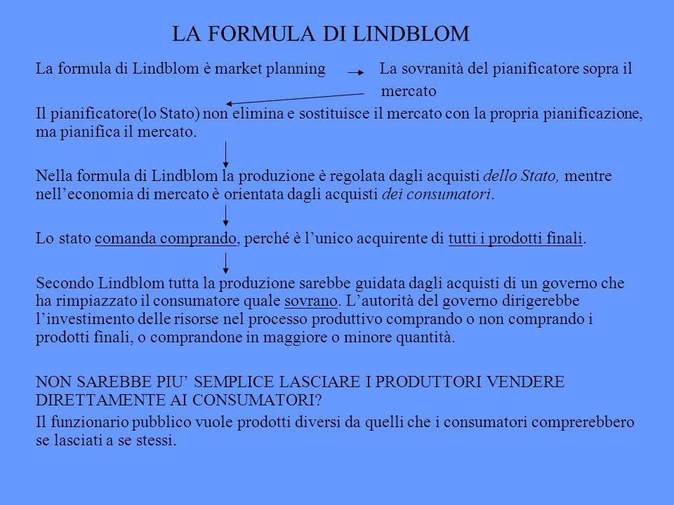 LA FORMULA DI LINDBLOM La formula di Lindblom è market planning La sovranità del pianificatore sopra il mercato Il pianificatore(lo Stato) non elimina