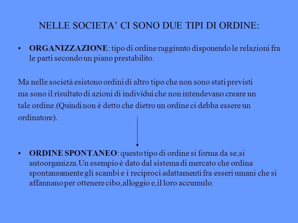 NELLE SOCIETA CI SONO DUE TIPI DI ORDINE: ORGANIZZAZIONE: tipo di ordine raggiunto disponendo le relazioni fra le parti secondo un piano prestabilito.