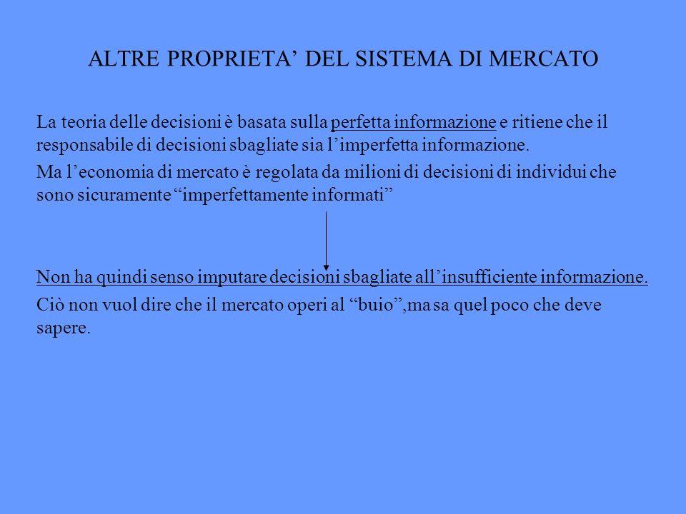 ALTRE PROPRIETA DEL SISTEMA DI MERCATO La teoria delle decisioni è basata sulla perfetta informazione e ritiene che il responsabile di decisioni sbagl