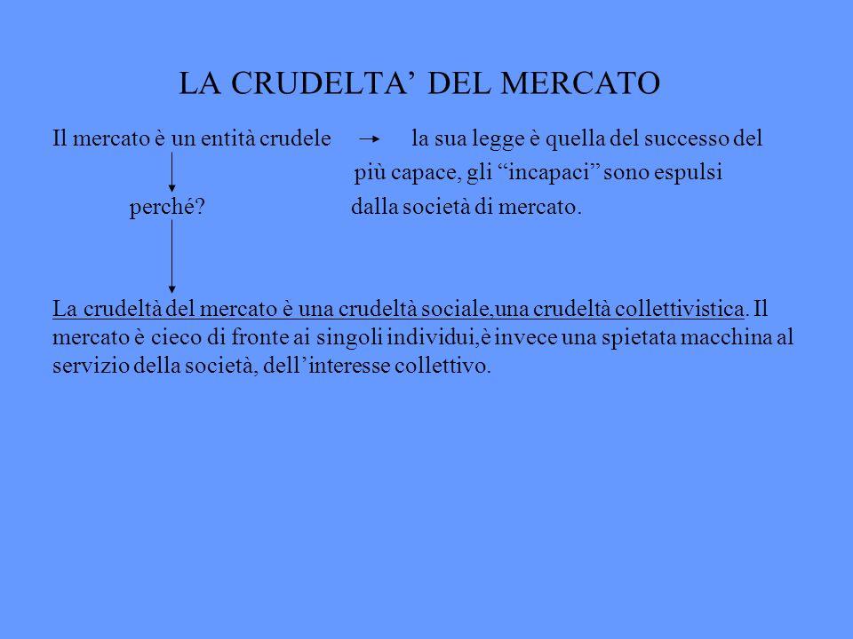 LA CRUDELTA DEL MERCATO Il mercato è un entità crudele la sua legge è quella del successo del più capace, gli incapaci sono espulsi perché? dalla soci