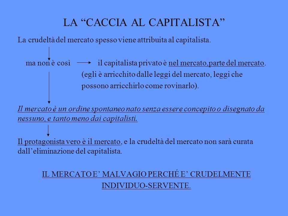 LA CACCIA AL CAPITALISTA La crudeltà del mercato spesso viene attribuita al capitalista. ma non è così il capitalista privato è nel mercato,parte del