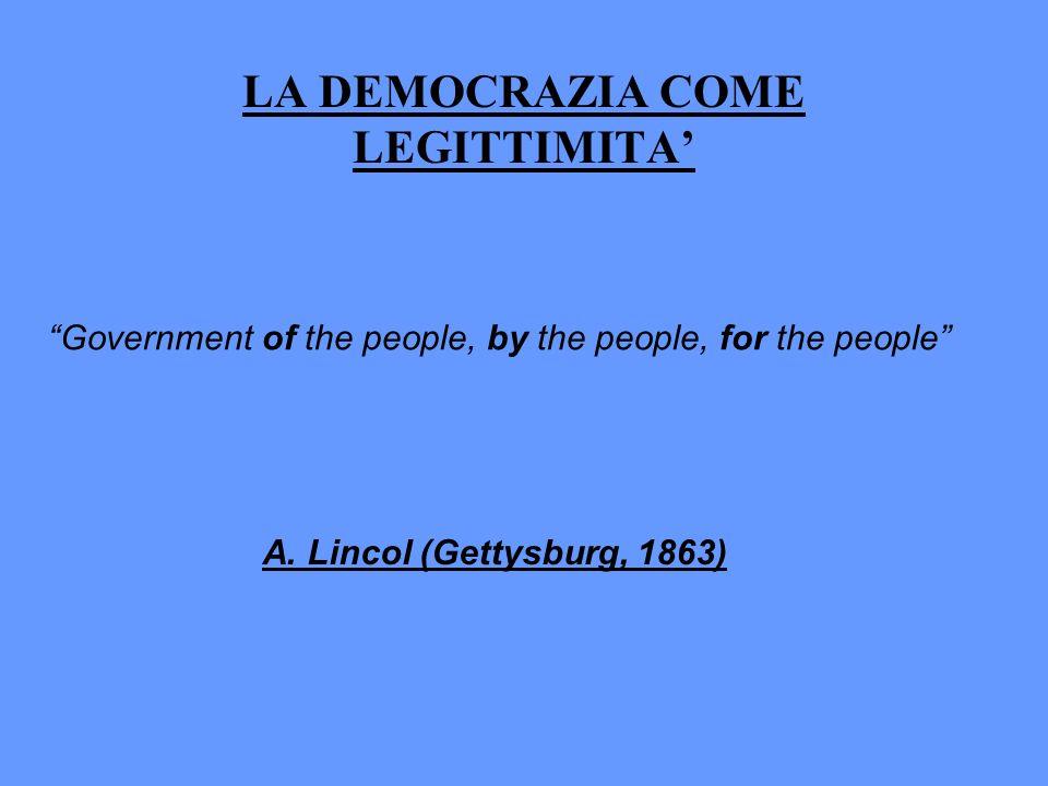 LA DEMOCRAZIA COME LEGITTIMITA Government of the people, by the people, for the people A. Lincol (Gettysburg, 1863)