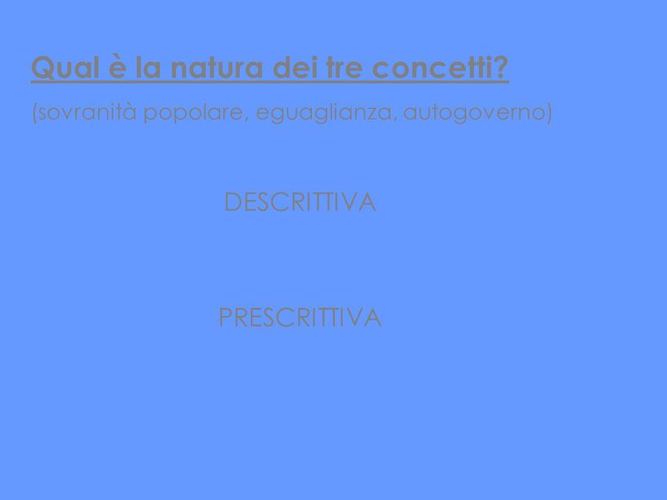 Qual è la natura dei tre concetti? (sovranità popolare, eguaglianza, autogoverno) DESCRITTIVA PRESCRITTIVA