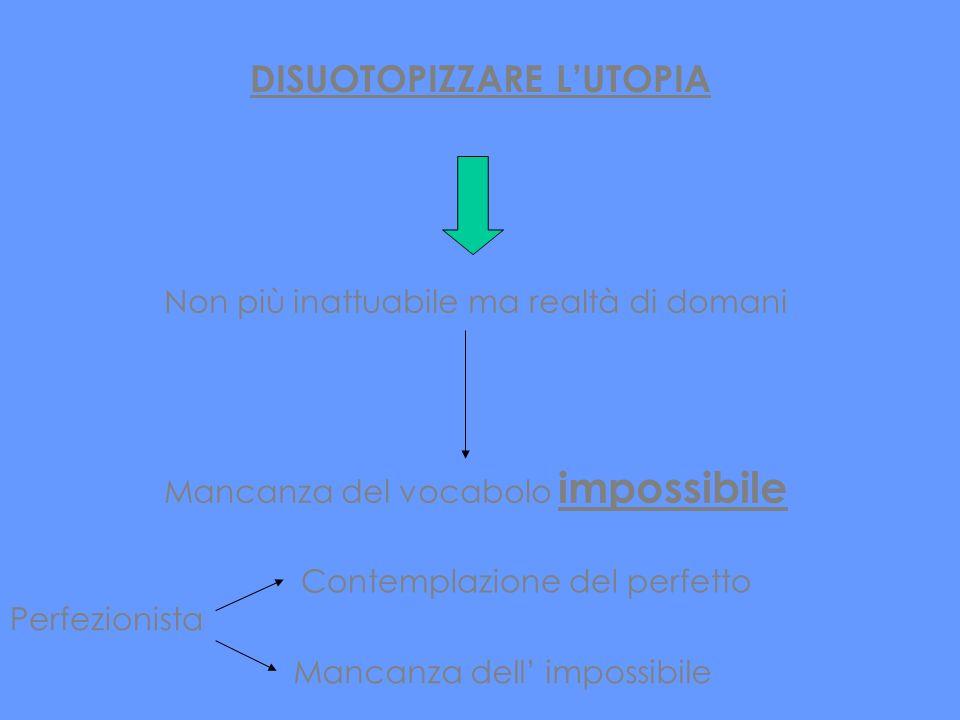 DISUOTOPIZZARE LUTOPIA Non più inattuabile ma realtà di domani Mancanza del vocabolo impossibile Perfezionista Contemplazione del perfetto Mancanza de