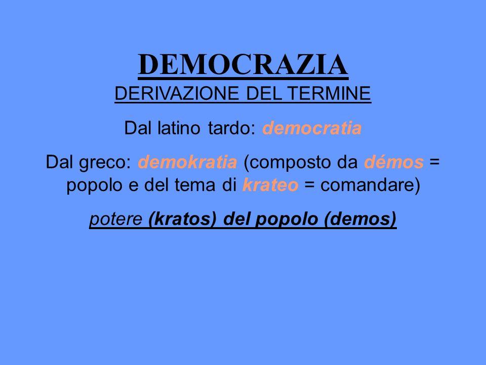 DEMOCRAZIA DERIVAZIONE DEL TERMINE Dal latino tardo: democratia Dal greco: demokratia (composto da démos = popolo e del tema di krateo = comandare) po
