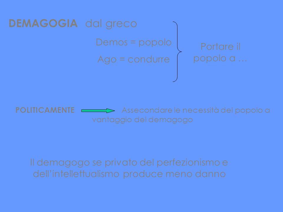 DEMAGOGIA dal greco Demos = popolo Ago = condurre Portare il popolo a … POLITICAMENTE Assecondare le necessità del popolo a vantaggio del demagogo Il