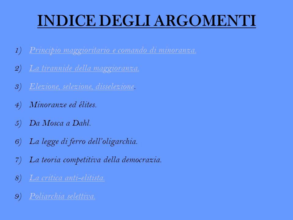 INDICE DEGLI ARGOMENTI 1)Principio maggioritario e comando di minoranza.Principio maggioritario e comando di minoranza. 2)La tirannide della maggioran