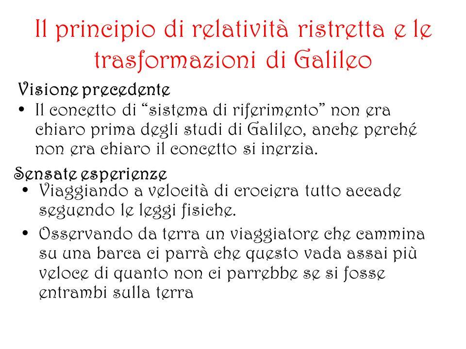 Il principio di relatività ristretta e le trasformazioni di Galileo Visione precedente Il concetto di sistema di riferimento non era chiaro prima degli studi di Galileo, anche perché non era chiaro il concetto si inerzia.