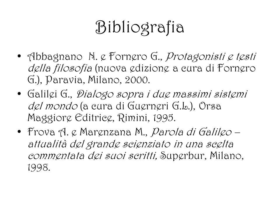 Bibliografia Abbagnano N. e Fornero G., Protagonisti e testi della filosofia (nuova edizione a cura di Fornero G.), Paravia, Milano, 2000. Galilei G.,