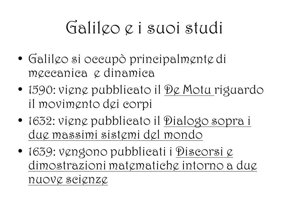Galileo e i suoi studi Galileo si occupò principalmente di meccanica e dinamica 1590: viene pubblicato il De Motu riguardo il movimento dei corpi 1632: viene pubblicato il Dialogo sopra i due massimi sistemi del mondo 1639: vengono pubblicati i Discorsi e dimostrazioni matematiche intorno a due nuove scienze