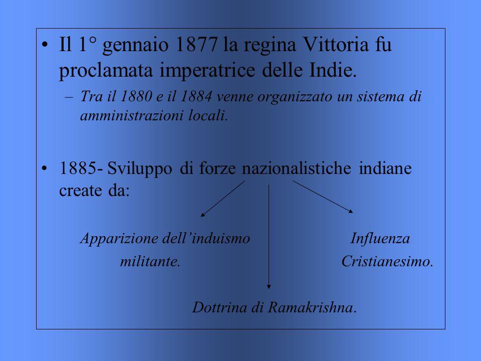 Il 1° gennaio 1877 la regina Vittoria fu proclamata imperatrice delle Indie. –Tra il 1880 e il 1884 venne organizzato un sistema di amministrazioni lo