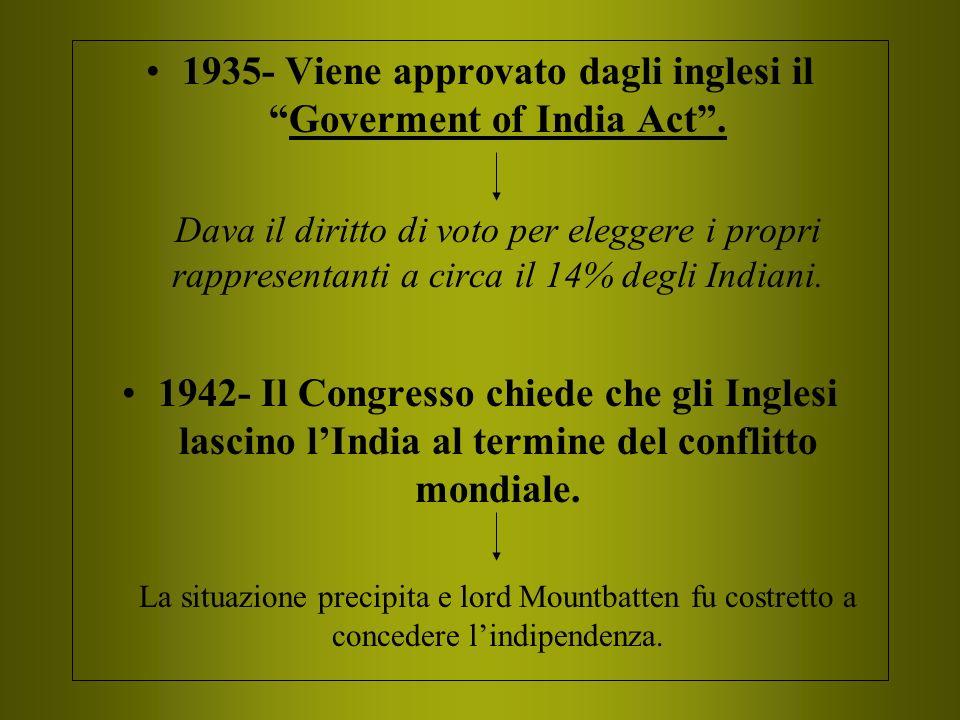 1935- Viene approvato dagli inglesi ilGoverment of India Act. Dava il diritto di voto per eleggere i propri rappresentanti a circa il 14% degli Indian