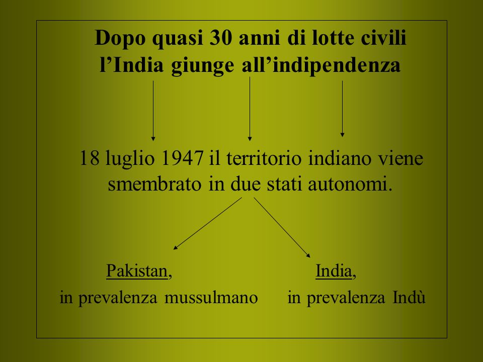 Dopo quasi 30 anni di lotte civili lIndia giunge allindipendenza 18 luglio 1947 il territorio indiano viene smembrato in due stati autonomi. Pakistan,