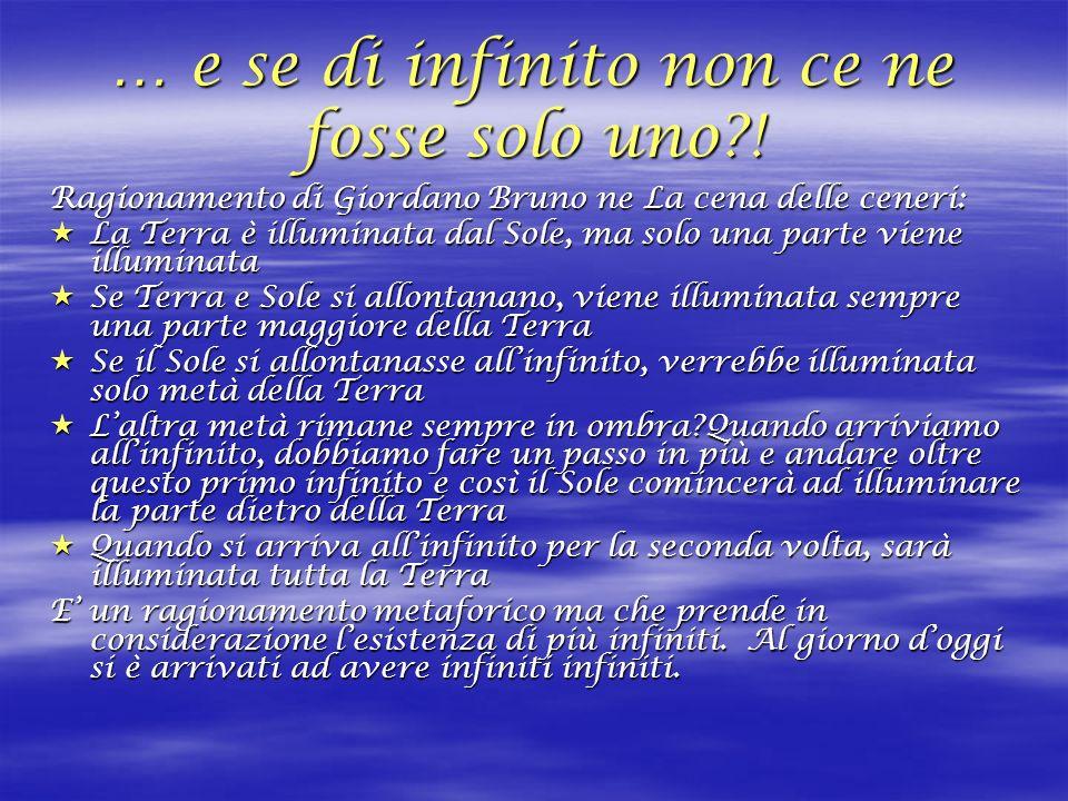 … e se di infinito non ce ne fosse solo uno?! Ragionamento di Giordano Bruno ne La cena delle ceneri: La Terra è illuminata dal Sole, ma solo una part